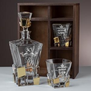 Хрустальный штоф и 2 стакана для виски с гравировкой