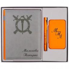 """Подарочный набор ежедневник, внешний аккумулятор и ручка """"Rust"""" с гравировкой"""