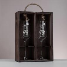 """Подарочный набор бокалов для шампанского """"Marleson"""" с гравировкой"""