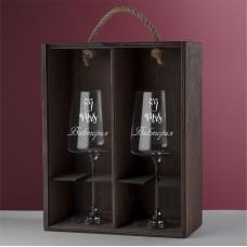 """Подарочный набор бокалов для вина """"Finess"""" с гравировкой"""