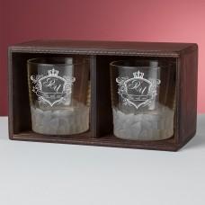 """Набор стаканов для виски в деревянном пенале """"Dalmore"""" с персональной гравировкой"""