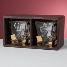 """Набор два стакана для виски в деревянном пенале """"Orten"""" с индивидуальной гравировкой"""