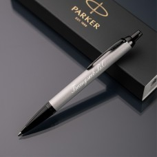 Ручка шариковая Parker IM с именной гравировкой, цвет серебро/черный