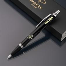 Ручка шариковая Parker IM с именной гравировкой, цвет черный/серебро