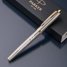 Ручка-роллер Parker IM с именной гравировкой, цвет серебро/золото