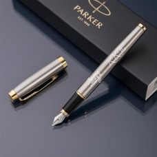 Перьевая ручка Parker IM с именной гравировкой, цвет серебро/золото