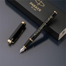 Перьевая ручка Parker IM с именной гравировкой, цвет черный/золото