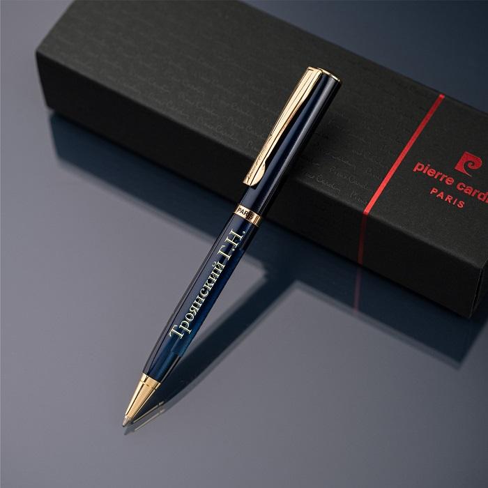 Шариковая ручка Pierre Cardin с гравировкой, цвет синий/золото
