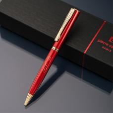 Ручка шариковая Pierre Cardin с гравировкой, цвет красный/золото