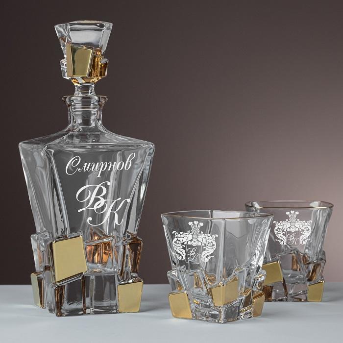 """Набор штоф и 2 стакана для виски с гравировкой """"Grasso"""" в подарочном пенале"""