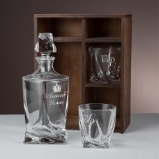 """Набор штоф и 2 стакана для виски с гравировкой """"Winzer"""" в подарочном пенале"""