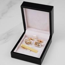 """Подарочный набор запонки и зажим для галстука """"Bruno"""" с гравировкой"""