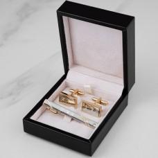 """Подарочный набор запонки и зажим для галстука """"Karl"""" с гравировкой"""