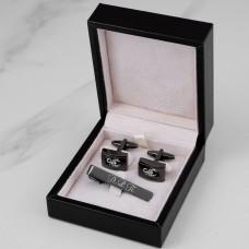 """Подарочный набор запонки и зажим для галстука """"Robert"""" с гравировкой"""