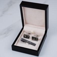 """Подарочный набор запонки и зажим для галстука """"Jason"""" с гравировкой"""