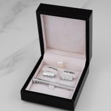 """Подарочный набор из серебра запонки и зажим для галстука """"Gallant"""" с гравировкой"""